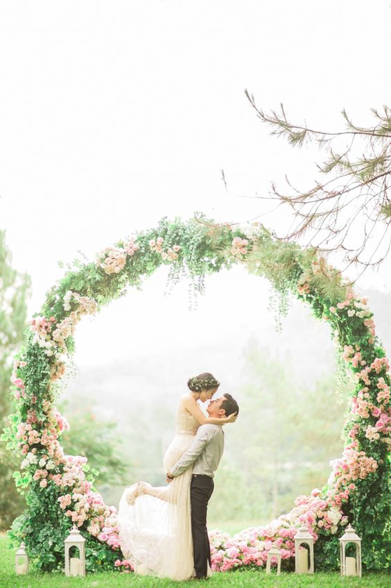 giant pink floral wreath for a backdrop