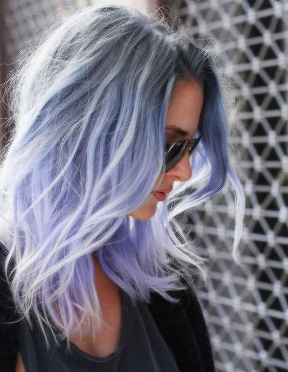 try ombre grey to blue to lilac hair for a unique look