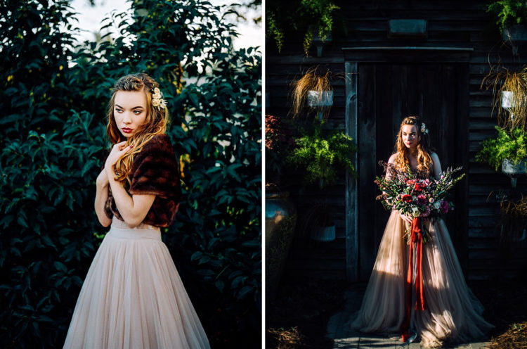 The bride was wearing an amazing blush BHLDN gown and a burgundy faux fur coat