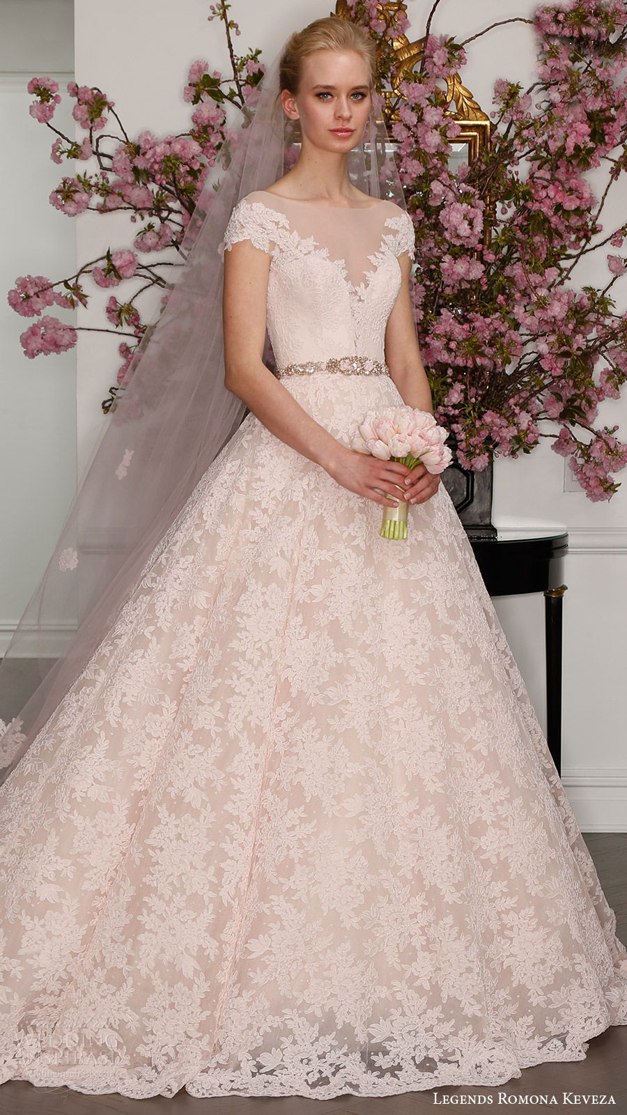 legends romona keveza bridal spring 2017 illusion off shoulder cap sleeves deep vneck lace ball gown (l7133) mv blush color