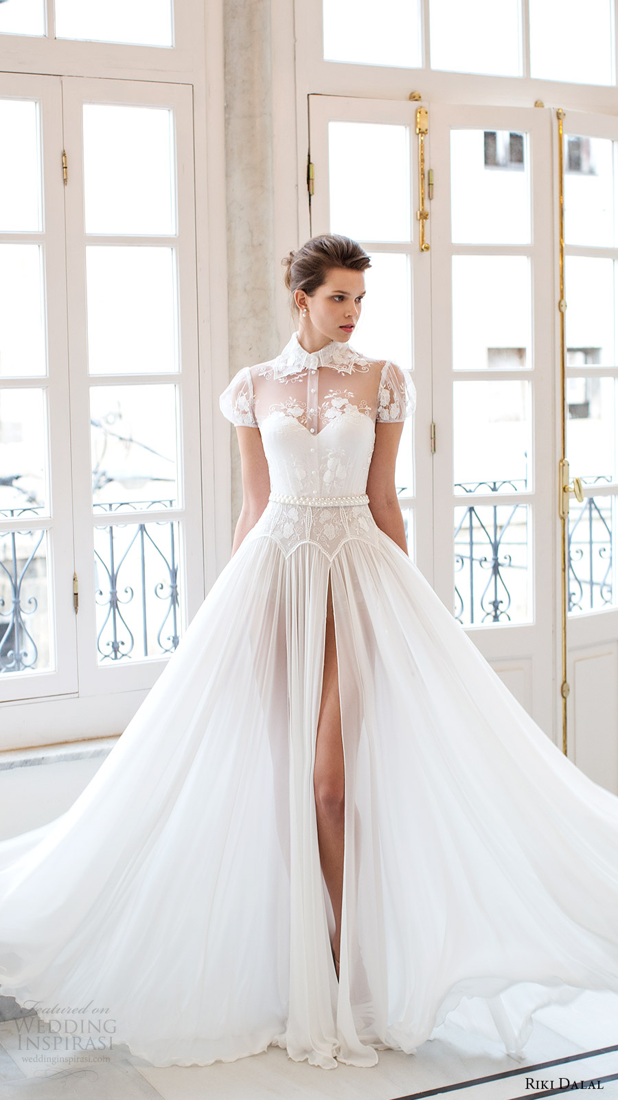 riki dalal bridal 2016 short puff sleeves sweetheart illusion collar shirt bodice a line wedding dress (1802) fv romantic slit skirt