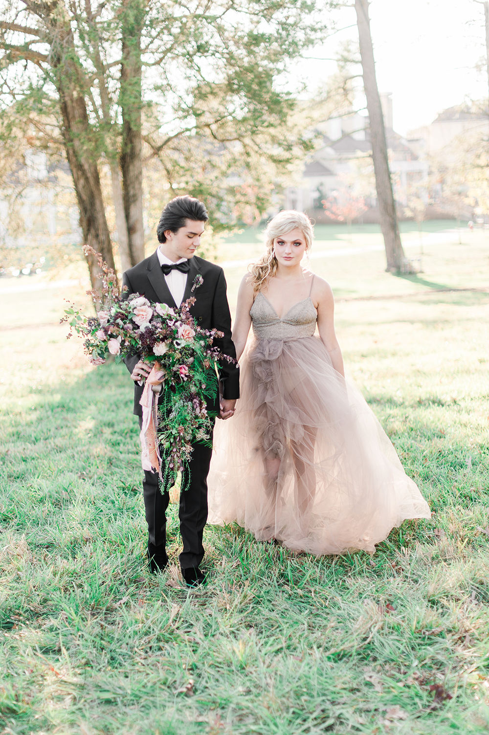 bride and groom - photo by Jenny B Photos http://ruffledblog.com/ethereal-wedding-inspiration-with-vintage-accents