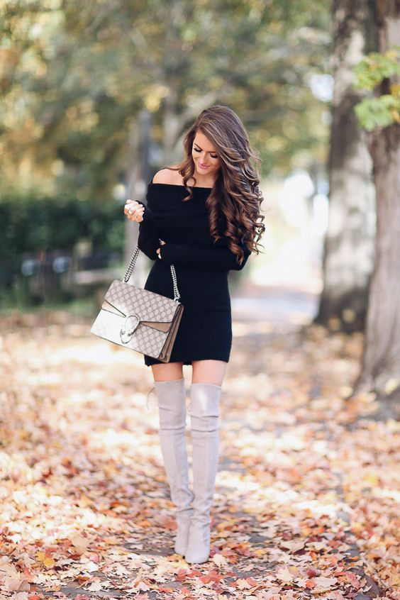 black off the shoulder dress and taupe over the knee boots look sexy