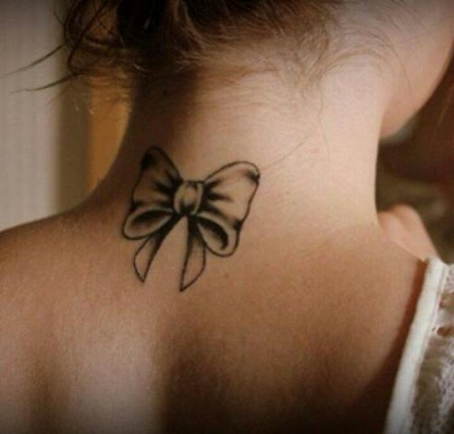 Bow tattoo on the neck