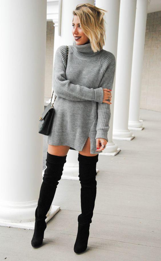 sweater dress and black over the knee boots