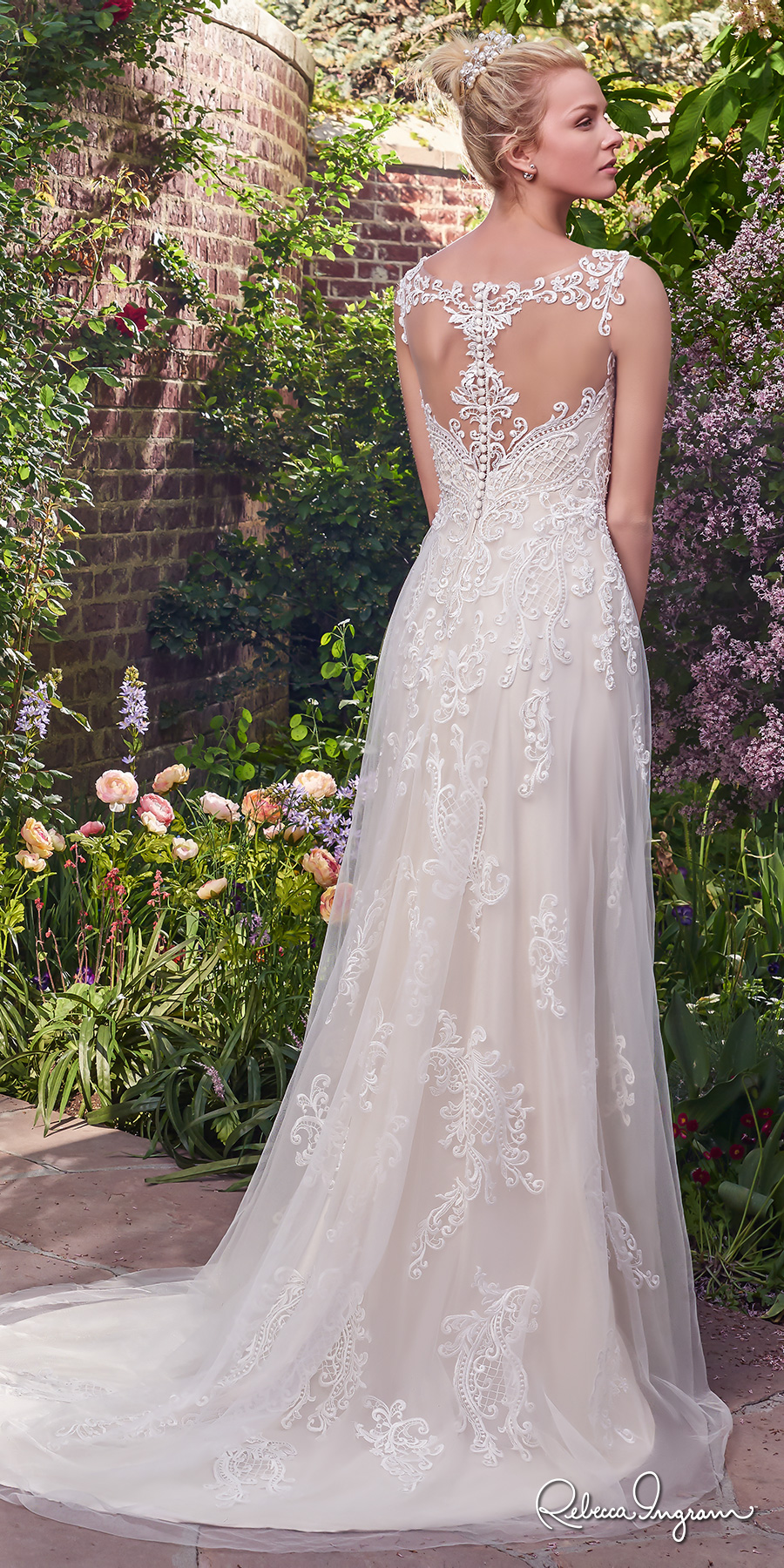 rebecca ingram 2017 bridal sleeveless lace strap illusion scoop sweetheart neckline heavily embellished bodice romantic modified a line wedding dress lace back sweep train (alexis) bv
