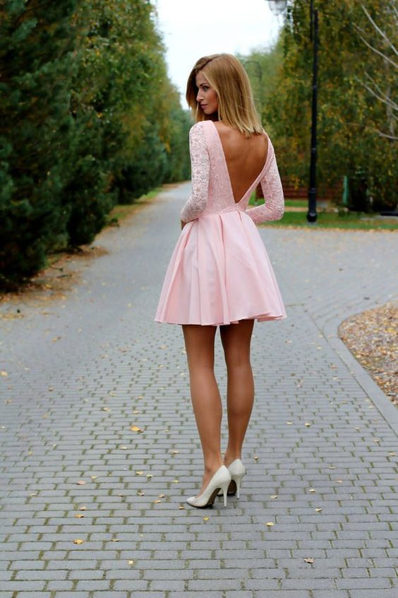 pink mini dress with a cutout V-back is great for any kind of date