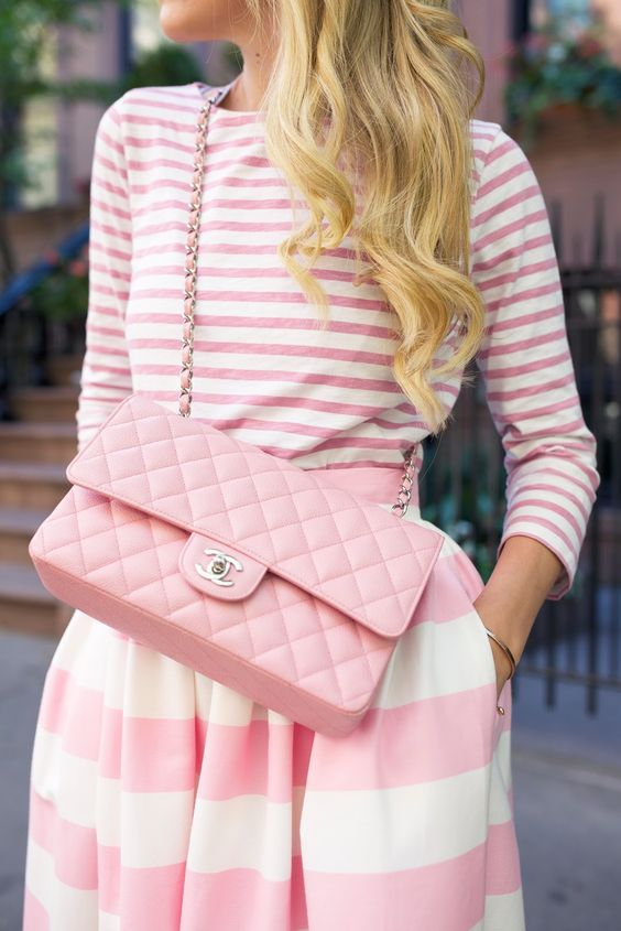 pink and white stripes on stripes look with a cross-body bag