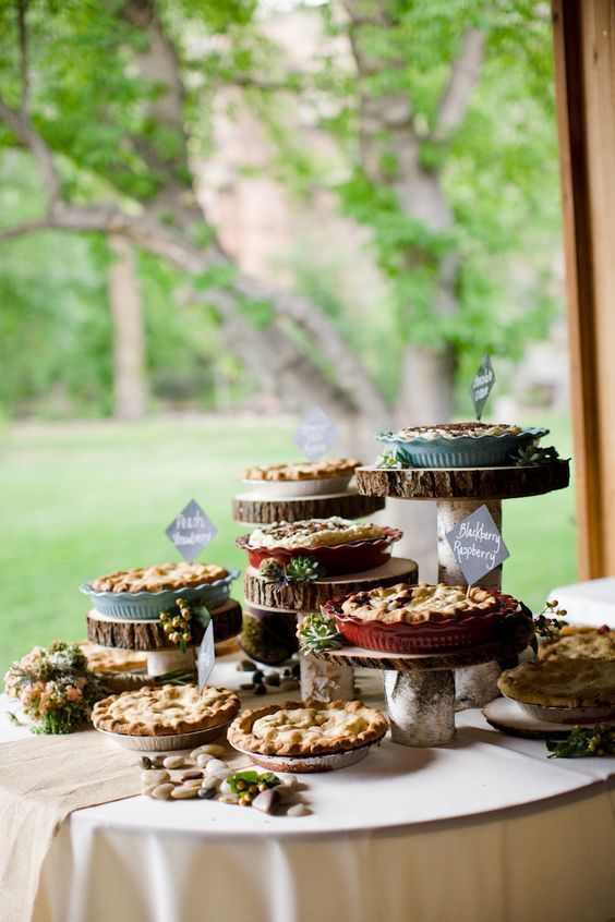 home pies can be served on wood slices