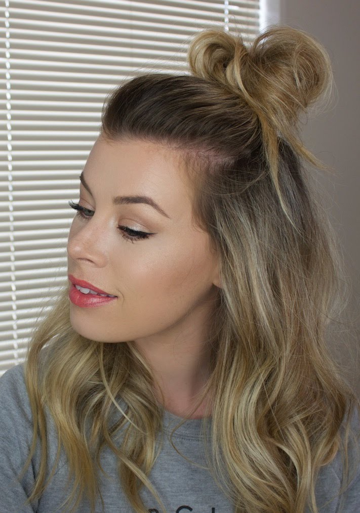 #18 - Half Up Messy Bun for Oval Faces