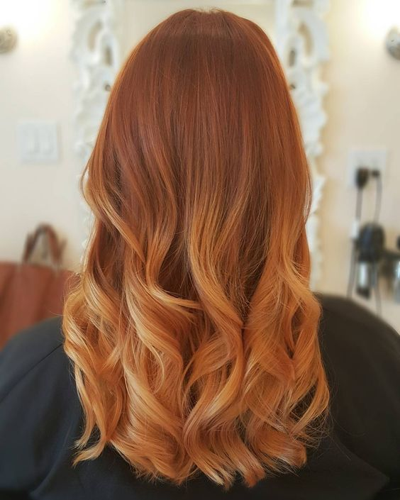 copper and blonde balayage with an ombre effect