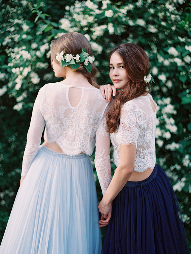 Bridesmaids separates with lace tops and tulle skirts | Igor Kovchegin Photography