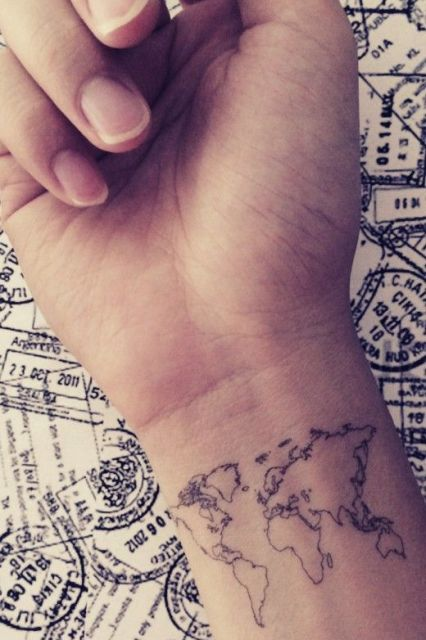 Map tattoo on the right wrist