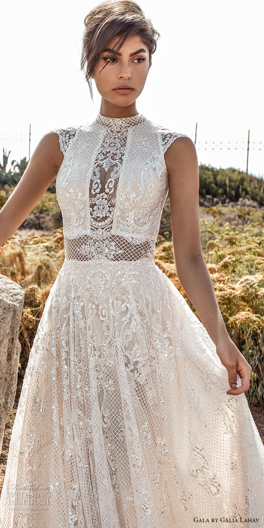 galia lahav gala 2017 bridal cap sleeves high jewel neck full embellishment beaded crystals romantic glamorous a line wedding dress open low back chapel train (803) zv