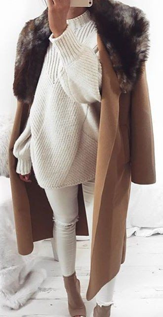 ripped white denim, an oversized geometric sweater, nude shoes and a brown coat