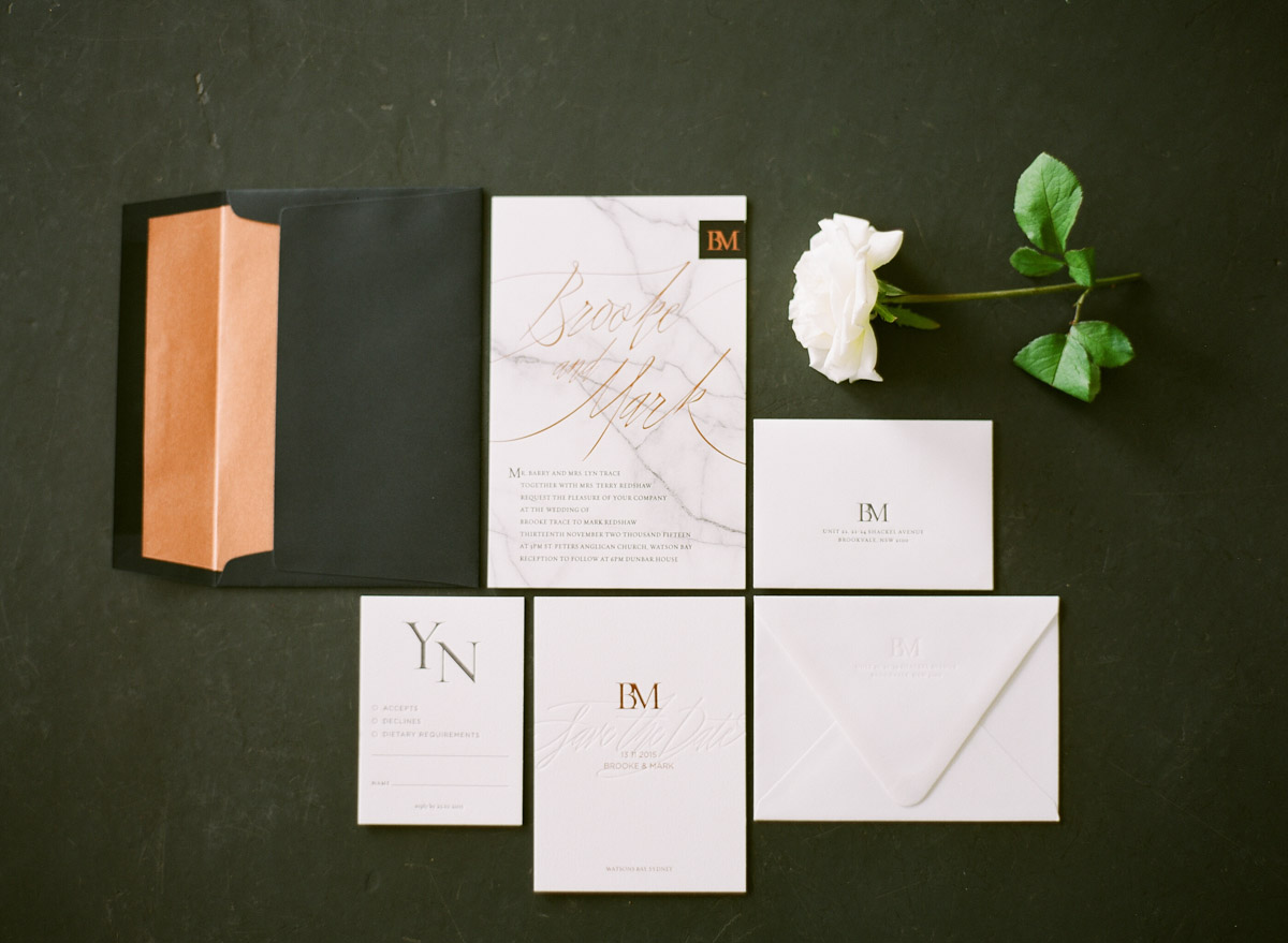 modern wedding invitations - photo by Qlix Photography http://ruffledblog.com/wedding-elegance-with-understated-beauty