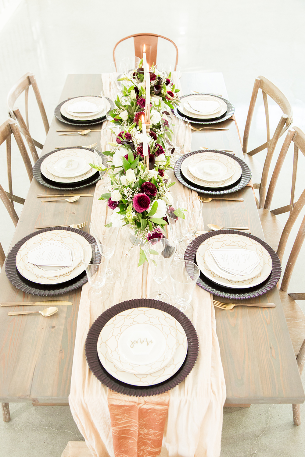 modern tablescapes - photo by Kasey Lynn Photography http://ruffledblog.com/birch-and-copper-wedding-inspiration-with-modern-romance