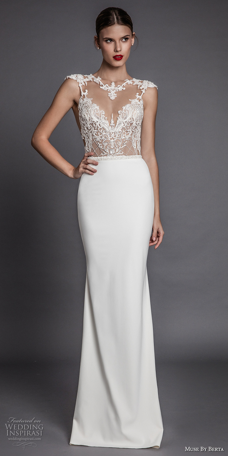 muse berta fall 2017 bridal cap sleeves illusion jewel neck sweetheart neckline heavily embellished bodice elegant glamorous sheath wedding dress open low back (aurora) mv