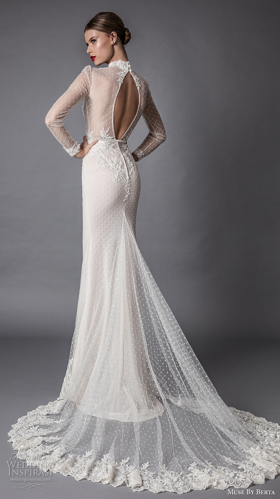muse berta fall 2017 bridal long sleeves high neck full embellishment beaded elegant sheath wedding dress keyhole back chapel train (amadea) bv