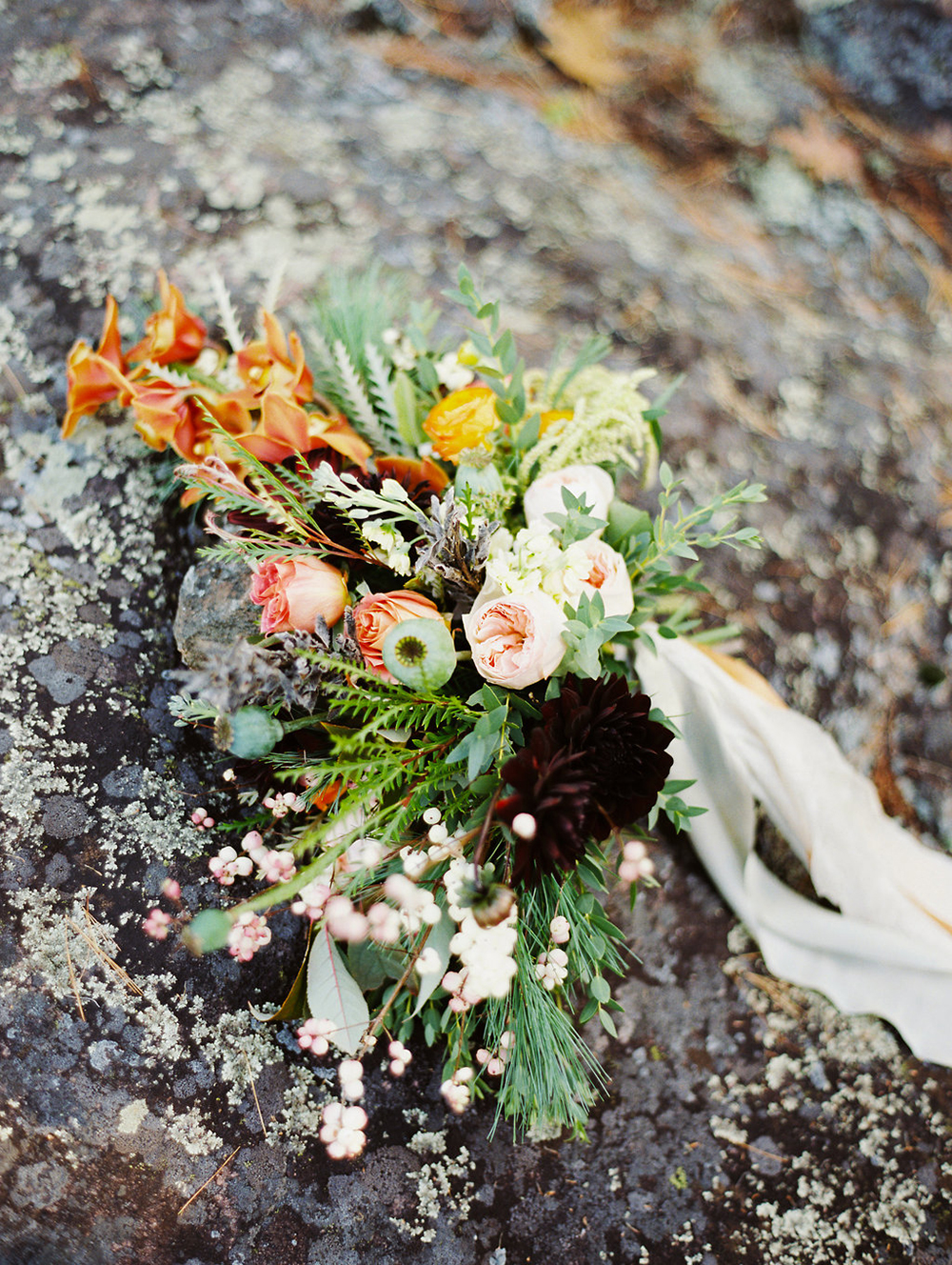 organic bouquets - photo by Evelyn Barkey Photography http://ruffledblog.com/romantic-elopement-inspiration-with-rich-colors