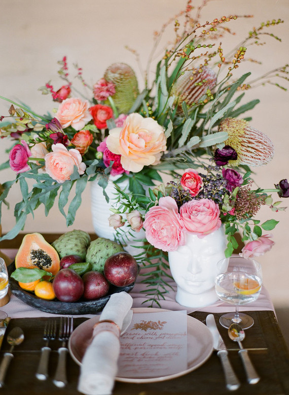 Florals on the table and even food kept the shoot modern yet a bit rustic