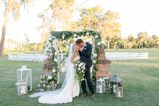 Vintage style wedding ceremony backdrop | Leah Marie Photography