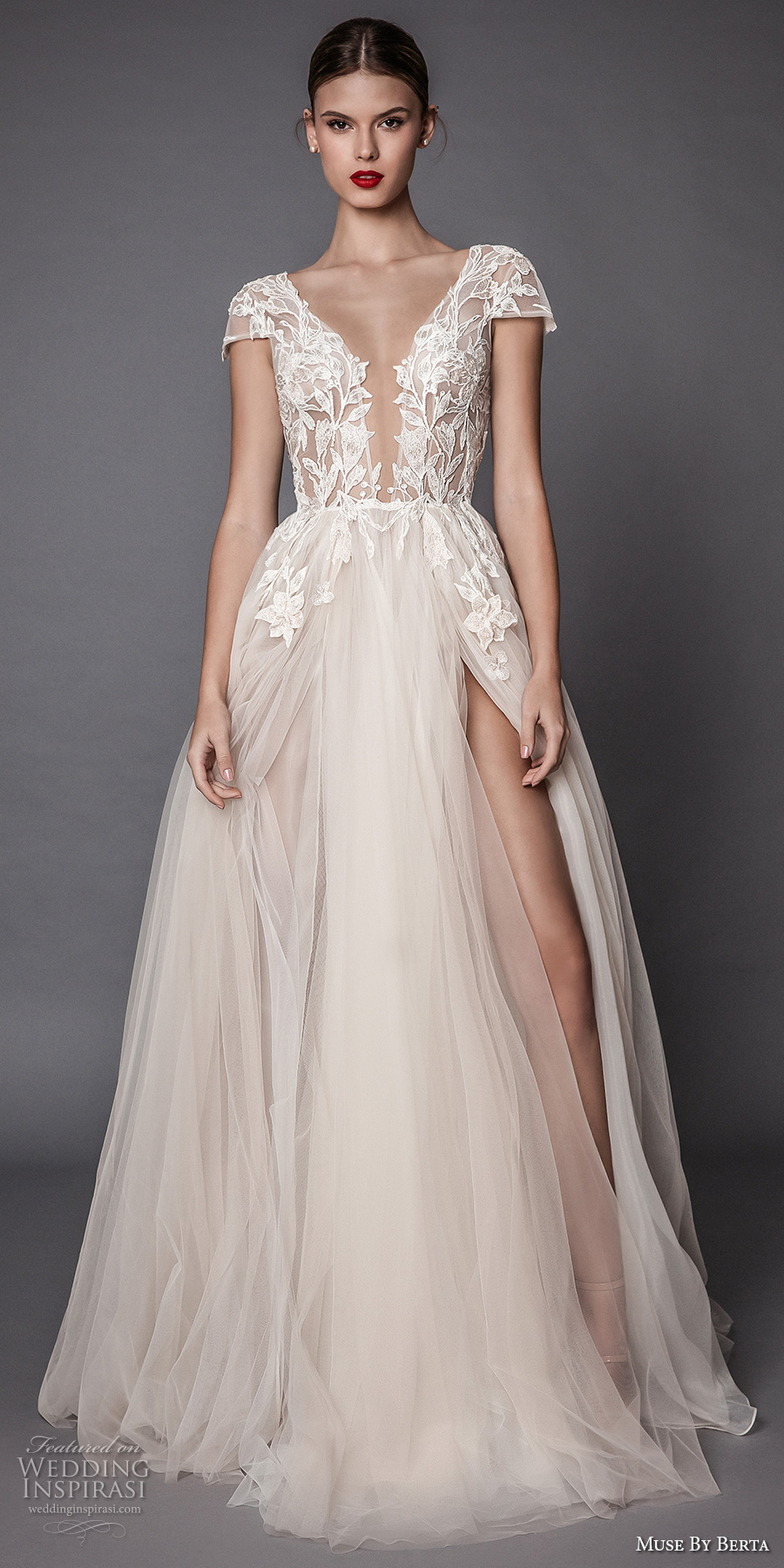 muse berta fall 2017 bridal cap sleeves deep plunging v neck heavily embellished bodice lace tulle skirt high side slit romantic sexy a line wedding dress open low back sweep train (antonia) mv