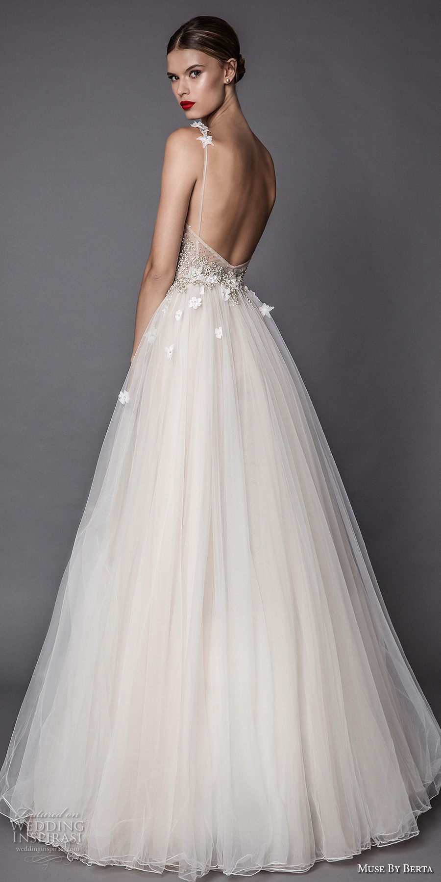 muse berta fall 2017 bridal spagetti strap deep v neck heavily embellished bodice floral applique tulle skirt romantic a line wedding dress open low back sweep train (adel) bv