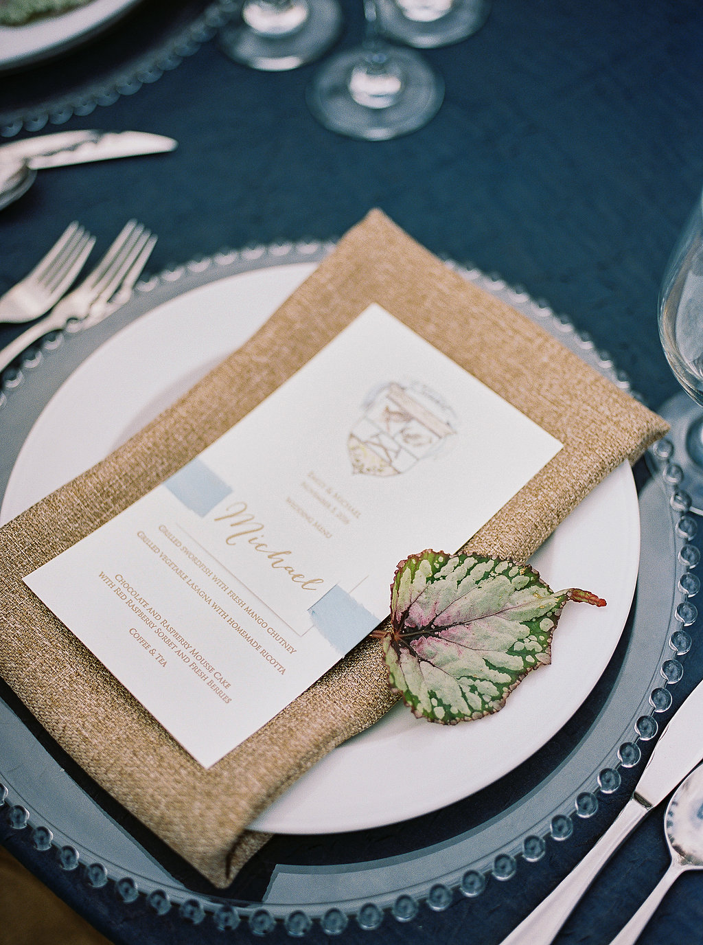 rustic wedding tablescapes - photo by Alexandra Elise Photography http://ruffledblog.com/cobalt-and-amber-wedding-inspiration