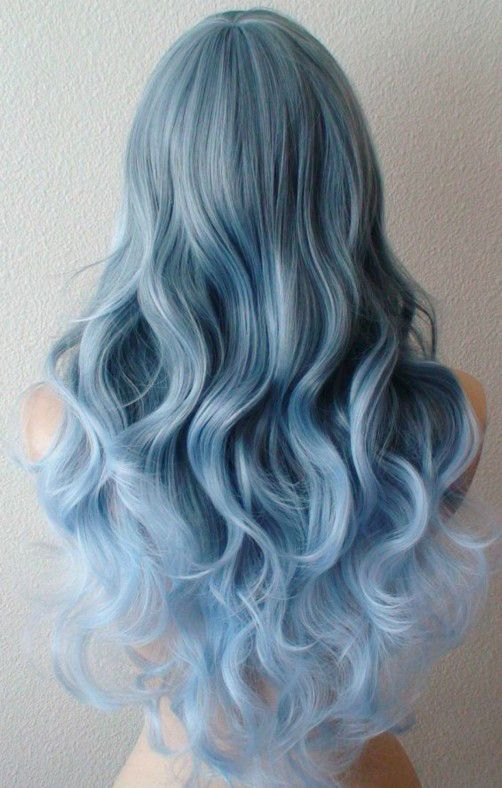 mermaid blue hair with an ombre effect