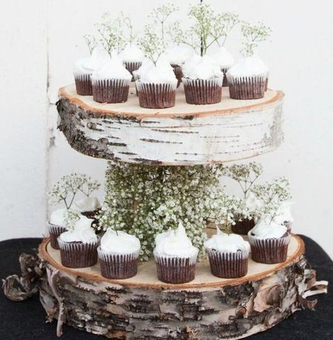 birch wood slice cupcake stand with baby