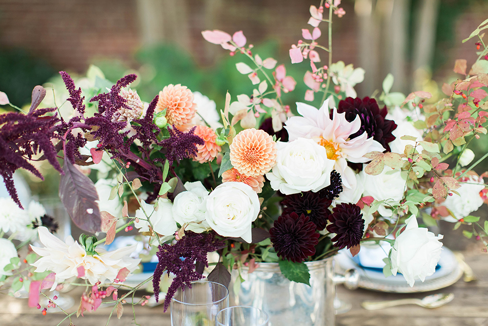 centerpiece with dahlias - photo by Candice Adelle Photography http://ruffledblog.com/historic-garden-wedding-inspiration