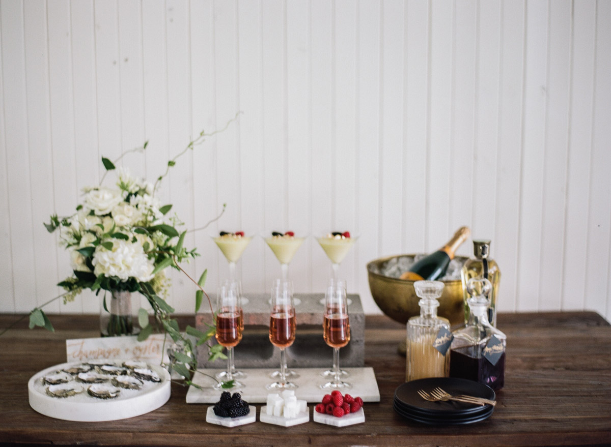 drink and dessert bars - photo by Qlix Photography http://ruffledblog.com/wedding-elegance-with-understated-beauty