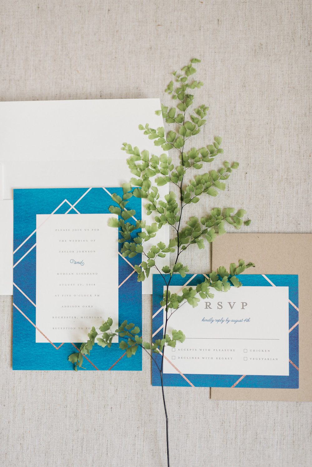 blue and white wedding invitations - photo by Anya Kernes Photography http://ruffledblog.com/organic-wedding-inspiration-with-shades-of-blue