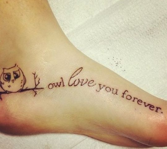 Owl with quote tattoo on the foot