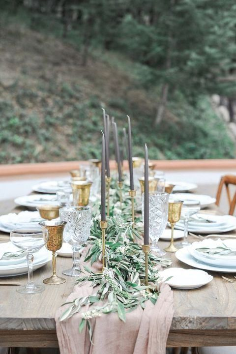 elegant dusty pink, grey and gold tablescape with a eucalyptus table runner