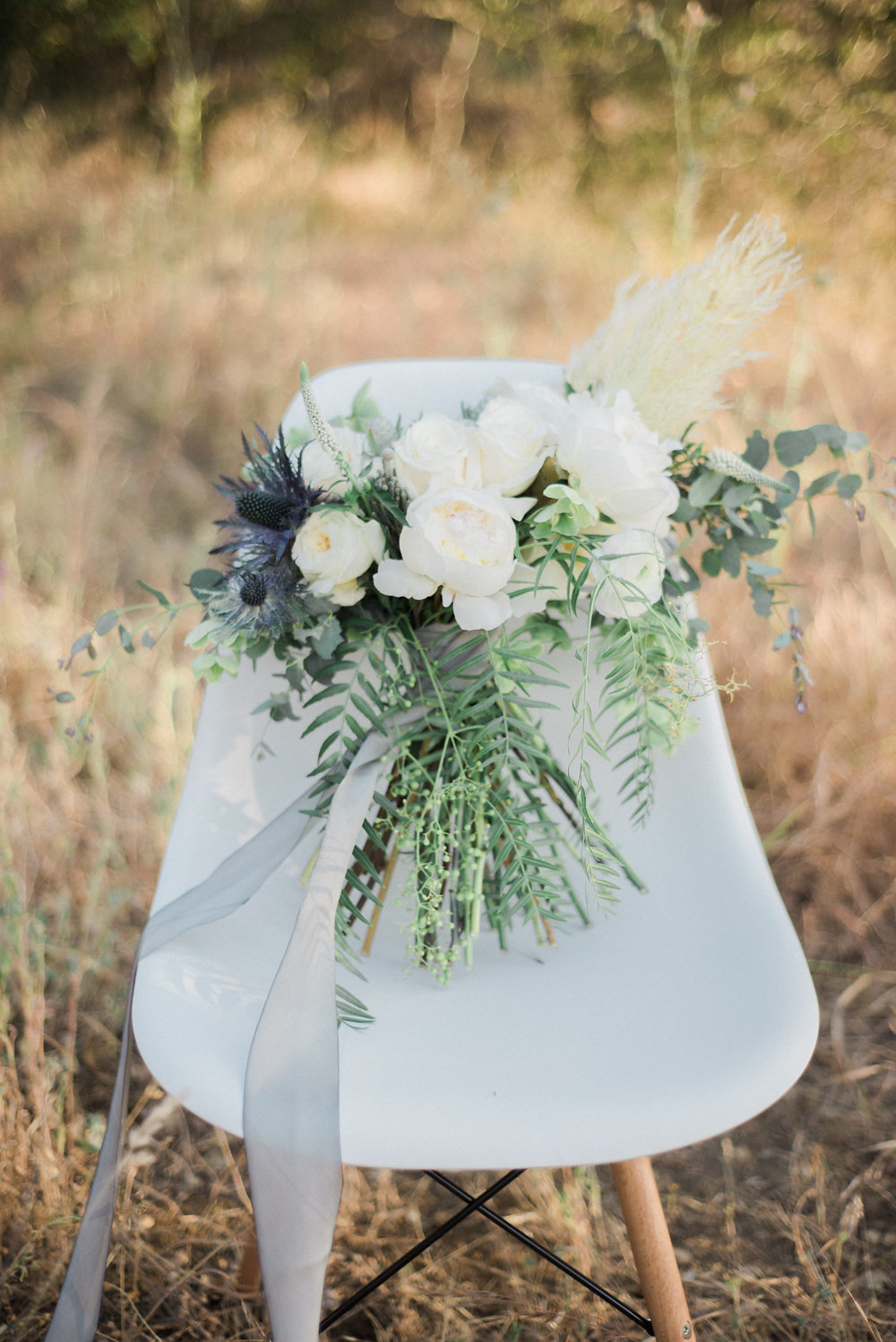 wedding bouquets - photo by Anya Kernes Photography http://ruffledblog.com/organic-wedding-inspiration-with-shades-of-blue
