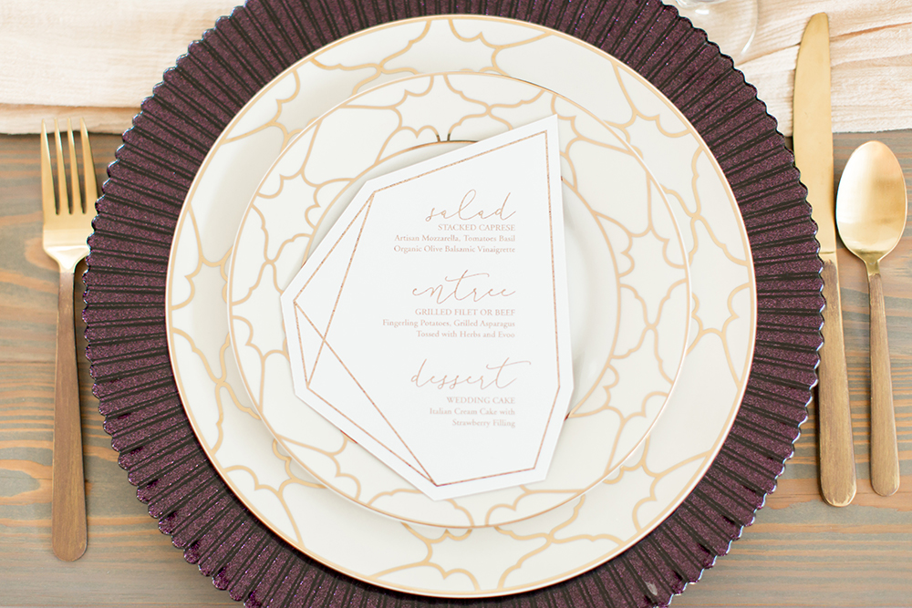 place settings - photo by Kasey Lynn Photography http://ruffledblog.com/birch-and-copper-wedding-inspiration-with-modern-romance