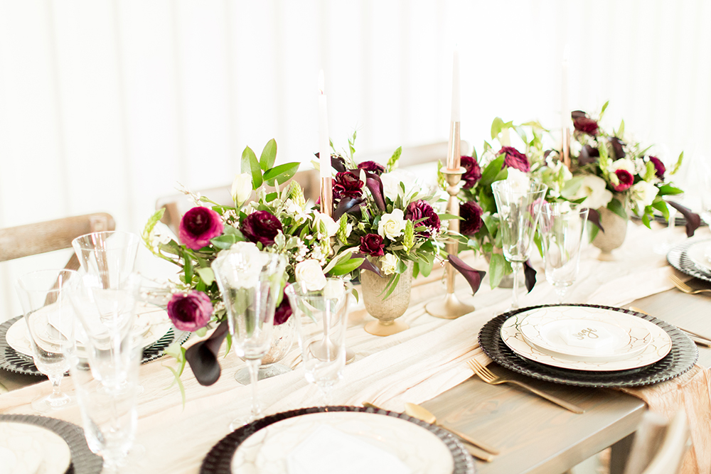 tablescapes - photo by Kasey Lynn Photography http://ruffledblog.com/birch-and-copper-wedding-inspiration-with-modern-romance
