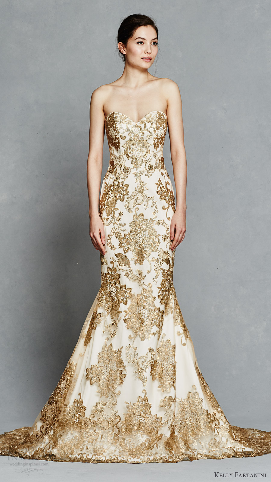 kelly faetanini bridal spring 2017 strapless sweetheart fit flare wedding dress (gwendolyn) mv gold color embroidery