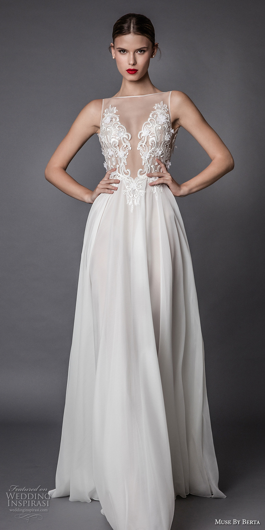 muse berta fall 2017 bridal sleeveless illusion bateau heavily embroidered bodice sexy romantic modified a line wedding dress open low back sweep train (alama) mv