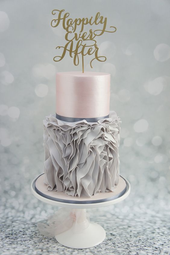 36 unique grey ruffle and pink layer wedding cake with a calligraphy topper