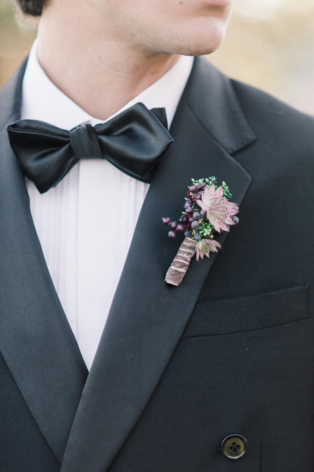 purple boutonnieres - photo by Jenny B Photos http://ruffledblog.com/ethereal-wedding-inspiration-with-vintage-accents