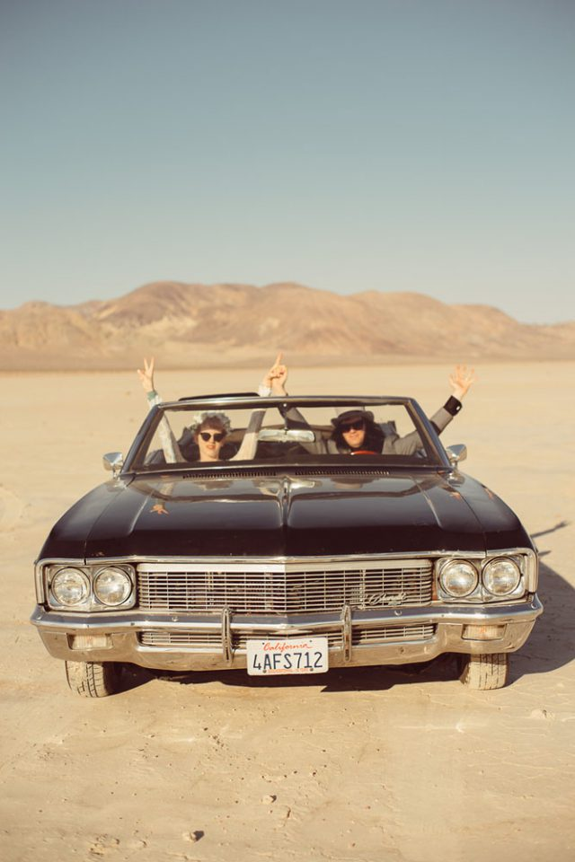 These guys traveled from Austria to Las Vegas and rented a 1970s Impala to keep the theme up