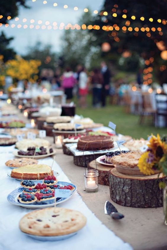 rustic backyard dessert table with wood slices and stumps for display