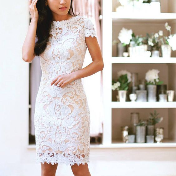 sheath white lace mini dress with short sleeves