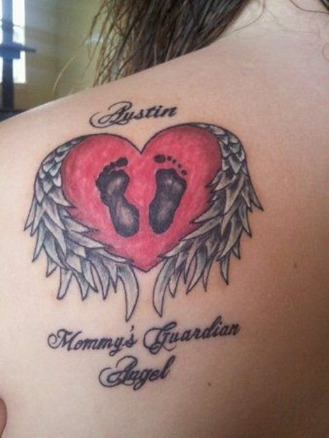 Red heart with baby footprint tattoo