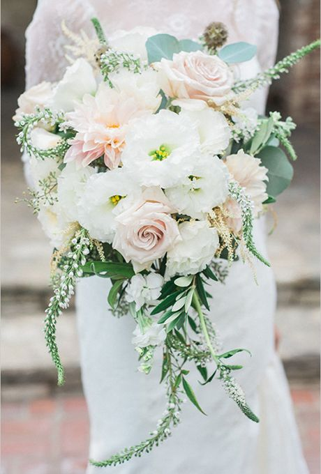 this romantic and lush bouquet features bits of fresh sage, eucalyptus, and mint