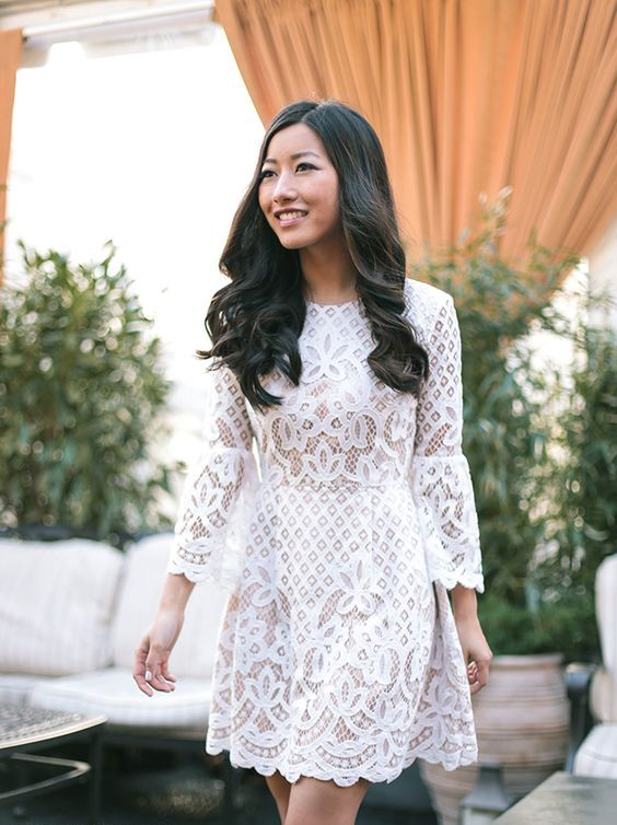 romantic white lace flare mini dress with sleeves