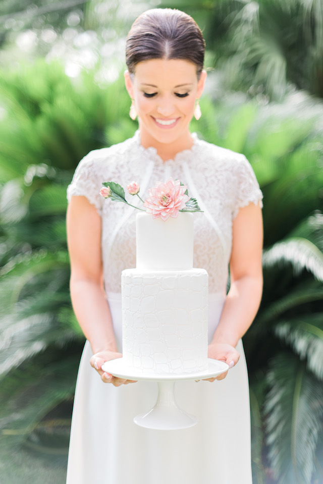 Wedding cake with sugar flower cake topper | Brittany Schlamp Photography